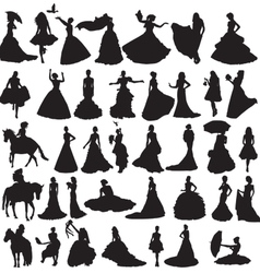 many silhouettes brides in different situations vector image