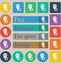 Map pointer setting icon sign set of twenty vector