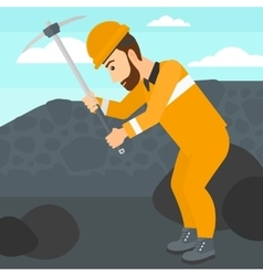 Miner working with pick vector image