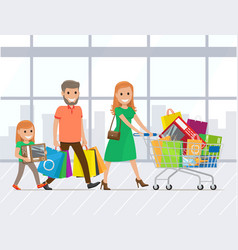 mother father and daughter shopping together vector image