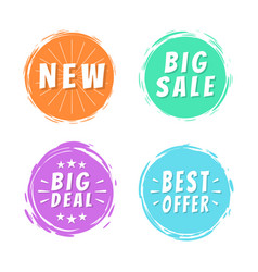 new big sale best offer deal text on painted spots vector image