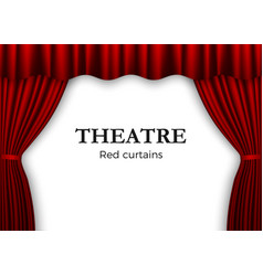 open red theater curtain background for banner vector image