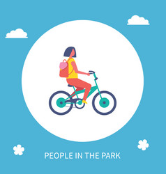 people park poster girl riding bike cartoon vector image
