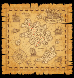 pirate treasure map sea island ship sketches vector image