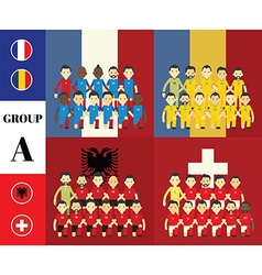 Players with flags GROUP A vector image