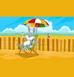 Rabbit at the beach vector
