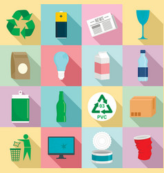 recycles day icon set flat style vector image