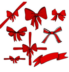 red bows and ribbons set vector image