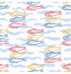 Sardine fish swimming seamless pattern vector