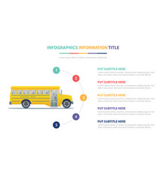 school bus infographic template concept with five vector image