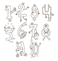 Set of cute and funny colorful number characters vector