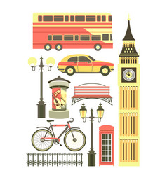Set of london objects vector