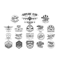 Set of vintage airplane logos original monochrome vector