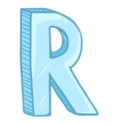 Single cartoon - ice blue letter r vector