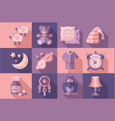Sleep time set objects for sleep good night vector
