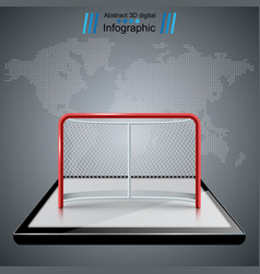 Smartphone hockey game hockey gates icons vector