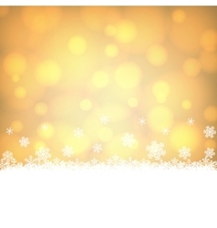 Snowflakes border with shiny golden background vector