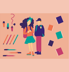 Students on pattern welcome back to school vector