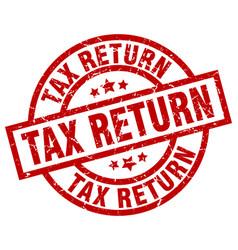 Tax return round red grunge stamp vector