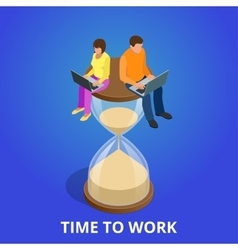 Time to work or Time management project plan vector