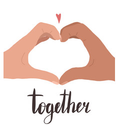 together hand drawn flat two hands with a vector image