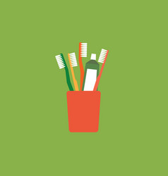 toothbrush and toothpaste in glass - hello morning vector image