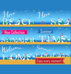 travel cards artistic font summer beach vector image