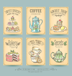 Vintage card collection sketch cakes and tea vector