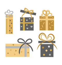 vintage collection of five gift boxes on white vector image