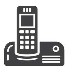 wireless telephone solid icon household appliance vector image