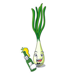 With beer fresh scallion isolated on the mascot vector