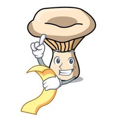 With menu milk mushroom mascot cartoon vector