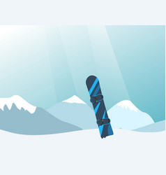 With snowy mountains and snowboard vector