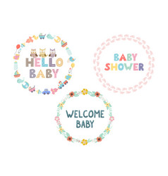 wreaths collection for bashower design vector image