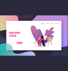 young loving couple sitting on bench in city park vector image
