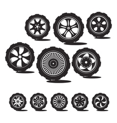 alloy wheels and tires vector image vector image