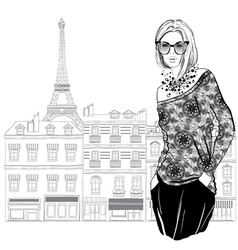 Fashion woman model with sunglasses on Paris city vector image