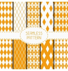 Set of geometric yellow orange seamless pattern vector image