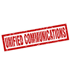 square grunge red unified communications stamp vector image