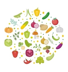 Vegetables icon set in a round shape Flat style vector image
