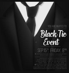 Black suit black tie event invitation template vector