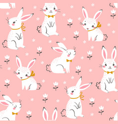 cute white bunnies pattern vector image vector image
