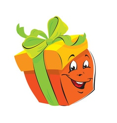 Gift Box cartoon with funny face vector image