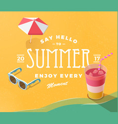 hello summer on beach vector image vector image