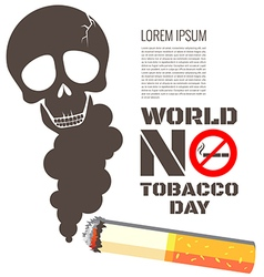 Skull shaped smoke with cigarette for World No vector image vector image