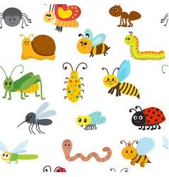 cute cartoon seamless pattern with insects vector image