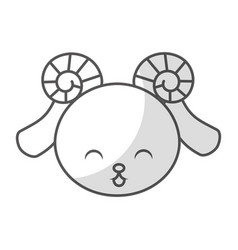 cute shadow goat face vector image