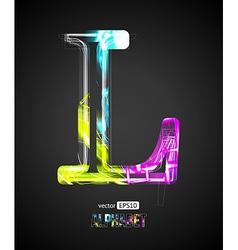 Design light effect alphabet letter l vector