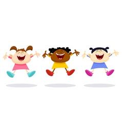 happy girls vector image vector image