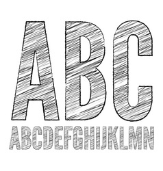 Pencil sketched font vector image vector image